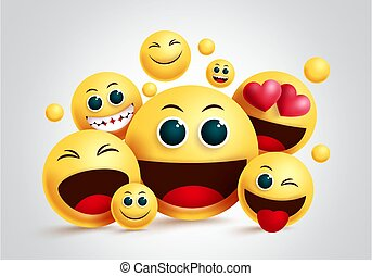Smiley emoji group vector design. Emojis yellow smiley face of friends happy together with facial expression for friendship design in white background.