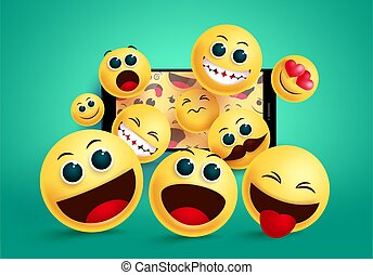 Smiley emoji in phone vector concept design. Cute emoji from social media mobile phone application in different facial expression like naughty, happy and in love facial expression.