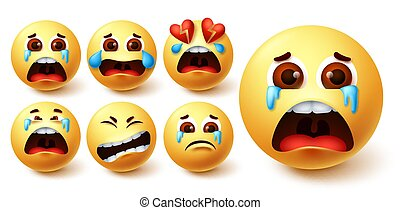 Smiley emoji in tears vector set. Smileys yellow face in crying, sad, broken hearted