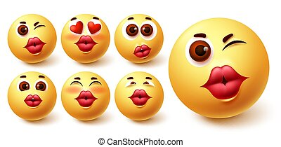 Smiley emoji kiss vector set. Smileys yellow avatar face with kissable lips in different facial expression