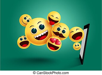 Smiley emoji mobile apps vector design. Emoticon emoji yellow face from mobile phone apps element in green background.