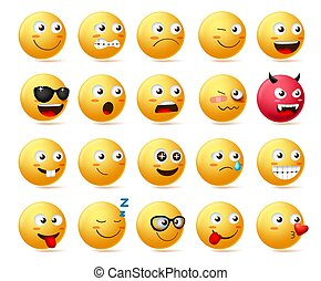 Smiley emoji side view set vector. Smileys emoticon or icon face character.