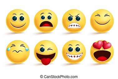 Smiley emoji vector set. Emoji smileys yellow face and emoticon with in love, angry, happy, and naughty cute facial expressions isolated.