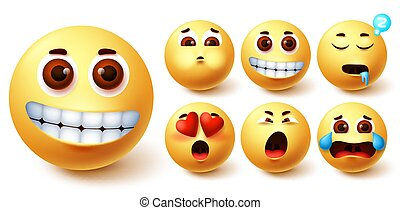 Smiley emoji vector set. Emojis yellow cute face with happy, in love, sleepy, vomit