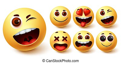 Smiley emoji vector set. Smileys yellow face cute emojis with funny, happy, naughty