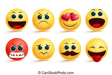 Smiley emoji vector set. Yellow smileys emoji and emoticon with cute angry, in love, sad and excited facial expressions and emotions.