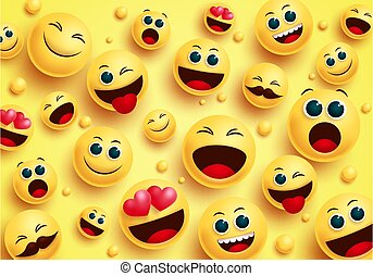 Smiley emojis in yellow background vector concept. Smileys emoji avatar character in top view with different facial expressions like in love, happy, naughty and surprise for design collection.