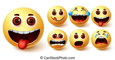Smiley emojis vector set. Smileys emoji cute yellow face with naughty, angry, laughing
