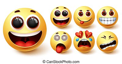Smiley emojis vector set. Smileys emoji yellow face with happy, excited, hungry, dizzy
