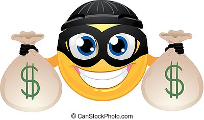 Smiley Emoticon Burglar holding Money Bag