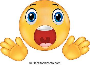 Smiley emoticon cartoon surprised - Vector illustration of...