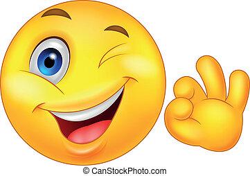 smiley, emoticon, con, signo bueno
