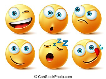 Smiley emoticon faces vector set. Smileys emoticons of yellow face