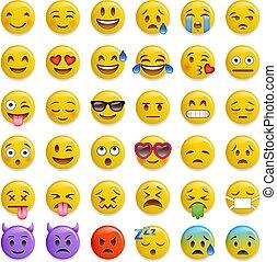 smiley emoticon glossy vector set