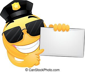 Smiley Emoticon Policeman pointing on a white board - Vector...