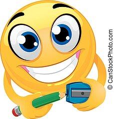 Smiley Emoticon Sharpening a Pencil