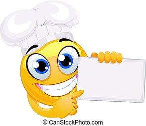 smiley, emoticon, tragen, küchenchef hut, besitz, a, leer, brett