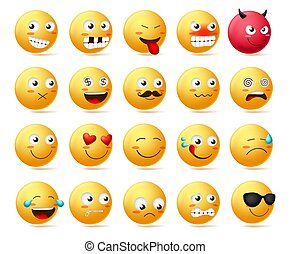 Smiley emoticon vector character face set. Smileys cute faces emoji in side view.