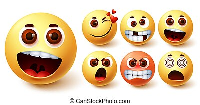 Smiley emoticon vector set. Smileys emoji faces in different facial expressions