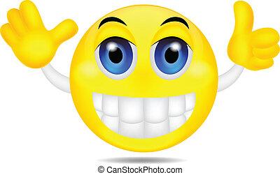 Smiley emoticon waving hand - vector illustration of Smiley...