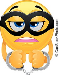 Smiley Emoticon wearing a Mask and Handcuffs - Vector...