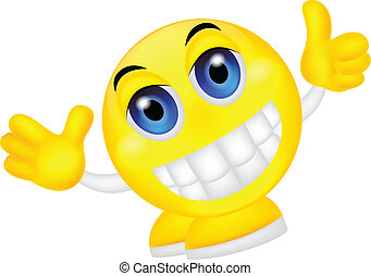 Smiley emoticon with thumb up - vector illustration of...