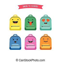 Smiley, emoticons and emoji bag, backpack colorful set of icons. Back to school concept