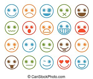 Smiley emoticons vector icon set in flat line
