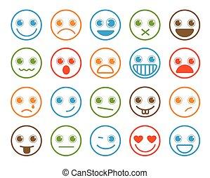 Smiley emoticons vector icon set in flat line