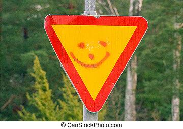 smiley, en, un, señal