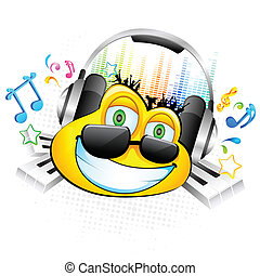 Smiley enjoying Music - illustration of smiley face with...