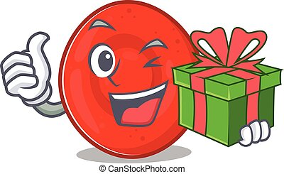 Smiley erythrocyte cell character with gift box. Vector ...