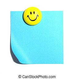 smiley face and blank paper