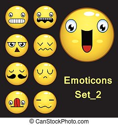 Smiley face and emoticon set with facial expressions isolated in Dark gray background. Set 2 . Vector illustration