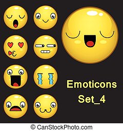 Smiley face and emoticon set with facial expressions isolated in Dark gray background. Set 4 . Vector illustration