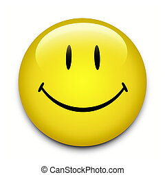 Smiley Face Button - Yellow Smiley Face button on white...