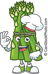 Smiley Face chef asparagus character with white hat