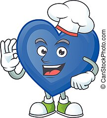 Smiley Face chef blue love character with white hat