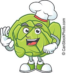 Smiley Face chef cabbage character with white hat