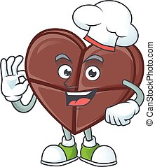 Smiley Face chef chocolate bar love character with white hat