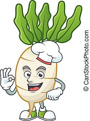 Smiley Face chef daikon character with white hat