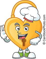 Smiley Face chef love padlock character with white hat