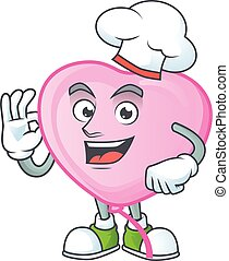 Smiley Face chef pink love balloon character with white hat