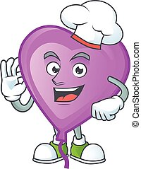 Smiley Face chef purple love balloon character with white hat