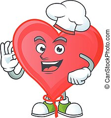 Smiley Face chef red love balloon character with white hat