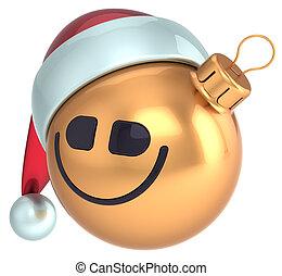 Smiley face Christmas ball gold ico - Smiley face Christmas ...