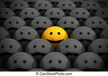 Smiley Face - smiley face in the middle of grey crowd