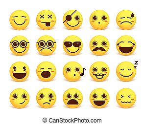 Smiley face cute vector emoticon set