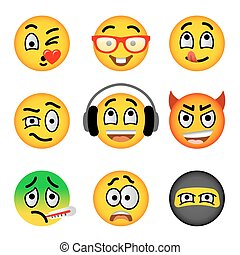 Smiley face emoji flat vector icons set