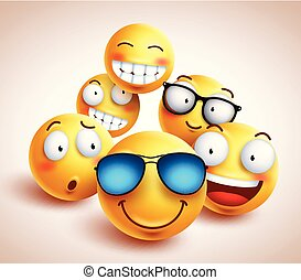 Smiley face emoticons vector characters with funny group